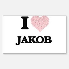 I Love Jakob (Heart Made from Love words) Decal