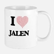I Love Jalen (Heart Made from Love words) Mugs