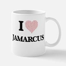 I Love Jamarcus (Heart Made from Love words) Mugs