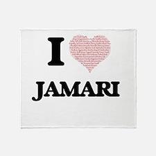 I Love Jamari (Heart Made from Love Throw Blanket