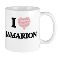 I Love Jamarion (Heart Made from Love words) Mugs