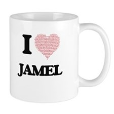 I Love Jamel (Heart Made from Love words) Mugs