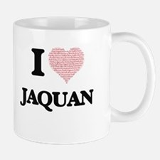 I Love Jaquan (Heart Made from Love words) Mugs