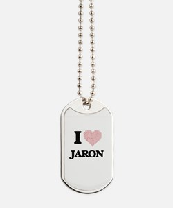 I Love Jaron (Heart Made from Love words) Dog Tags
