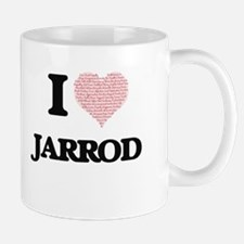 I Love Jarrod (Heart Made from Love words) Mugs