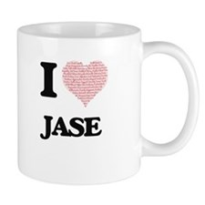 I Love Jase (Heart Made from Love words) Mugs