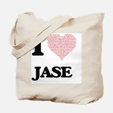 I Love Jase (Heart Made from Love words) Tote Bag