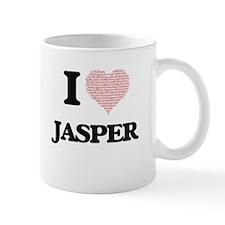 I Love Jasper (Heart Made from Love words) Mugs