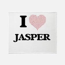 I Love Jasper (Heart Made from Love Throw Blanket