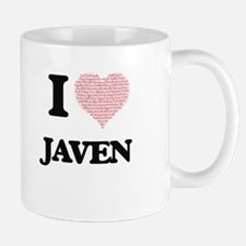 I Love Javen (Heart Made from Love words) Mugs