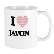 I Love Javon (Heart Made from Love words) Mugs