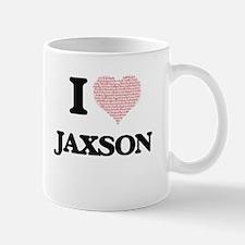 I Love Jaxson (Heart Made from Love words) Mugs
