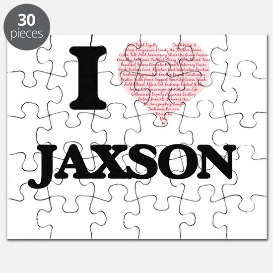 I Love Jaxson (Heart Made from Love words) Puzzle