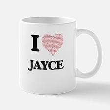 I Love Jayce (Heart Made from Love words) Mugs