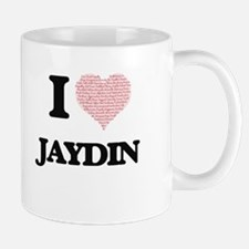 I Love Jaydin (Heart Made from Love words) Mugs