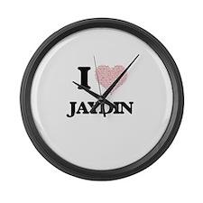 I Love Jaydin (Heart Made from Lo Large Wall Clock