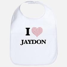 I Love Jaydon (Heart Made from Love words) Bib