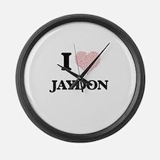 I Love Jaydon (Heart Made from Lo Large Wall Clock
