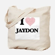 I Love Jaydon (Heart Made from Love words Tote Bag
