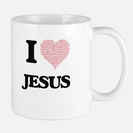 I Love Jesus (Heart Made from Love words) Mugs