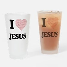 I Love Jesus (Heart Made from Love Drinking Glass