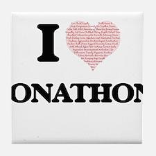 I Love Jonathon (Heart Made from Love Tile Coaster