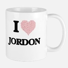 I Love Jordon (Heart Made from Love words) Mugs