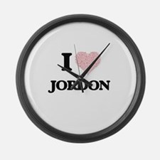 I Love Jordon (Heart Made from Lo Large Wall Clock