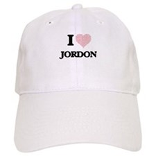 I Love Jordon (Heart Made from Love words) Baseball Baseball Cap