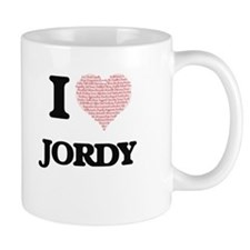 I Love Jordy (Heart Made from Love words) Mugs