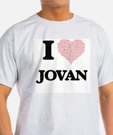 I Love Jovan (Heart Made from Love words) T-Shirt