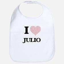 I Love Julio (Heart Made from Love words) Bib