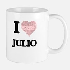 I Love Julio (Heart Made from Love words) Mugs