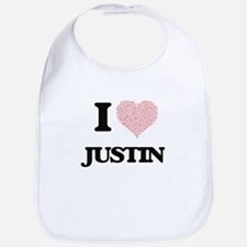 I Love Justin (Heart Made from Love words) Bib