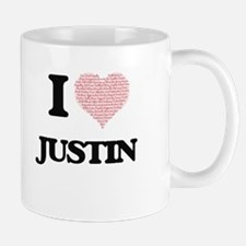 I Love Justin (Heart Made from Love words) Mugs