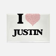 I Love Justin (Heart Made from Love words) Magnets