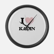 I Love Kadin (Heart Made from Lov Large Wall Clock