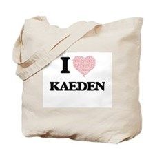 I Love Kaeden (Heart Made from Love words Tote Bag
