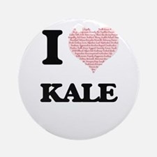 I Love Kale (Heart Made from Love w Round Ornament