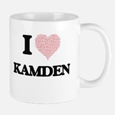 I Love Kamden (Heart Made from Love words) Mugs