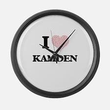 I Love Kamden (Heart Made from Lo Large Wall Clock