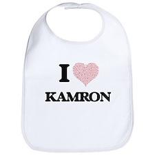 I Love Kamron (Heart Made from Love words) Bib