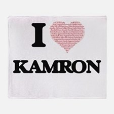 I Love Kamron (Heart Made from Love Throw Blanket