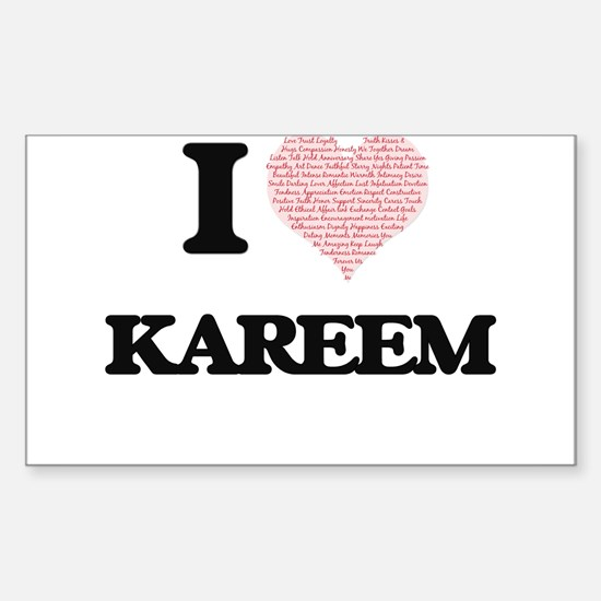 I Love Kareem (Heart Made from Love words) Decal