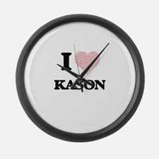 I Love Kason (Heart Made from Lov Large Wall Clock