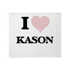 I Love Kason (Heart Made from Love w Throw Blanket