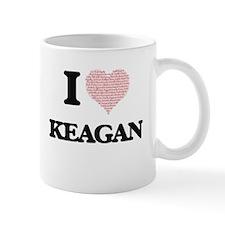 I Love Keagan (Heart Made from Love words) Mugs