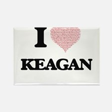 I Love Keagan (Heart Made from Love words) Magnets