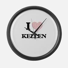 I Love Kellen (Heart Made from Lo Large Wall Clock