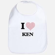 I Love Ken (Heart Made from Love words) Bib